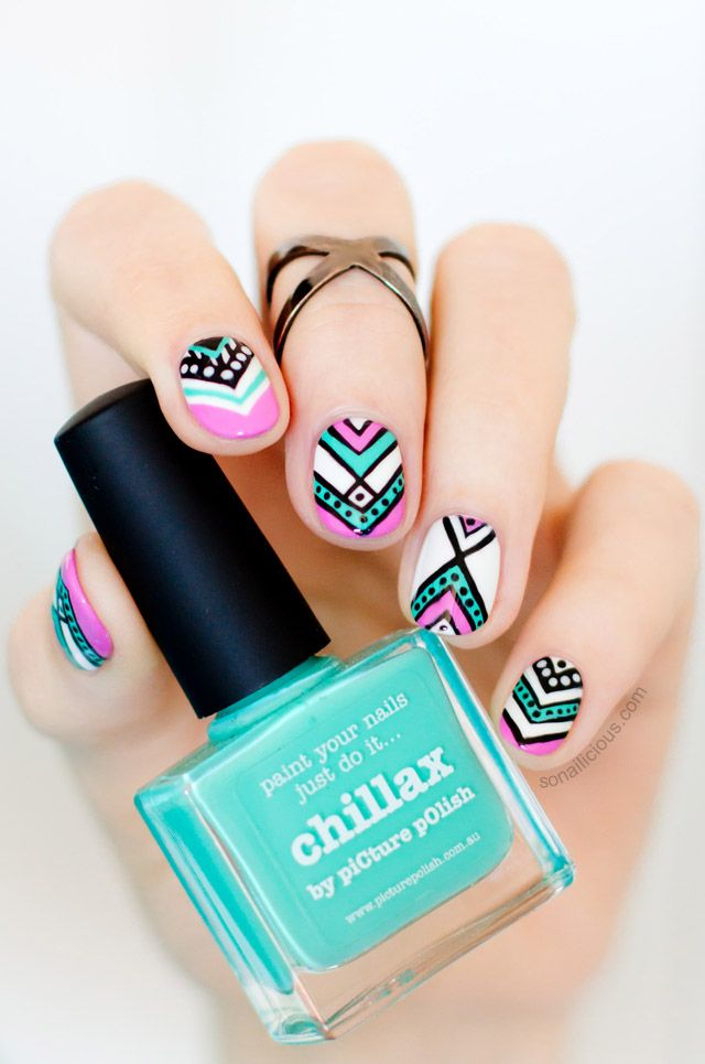 Aztec Nails for Spring