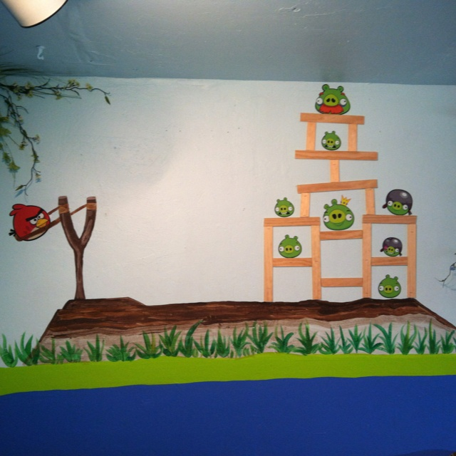 Angry birds mural kids bedroom