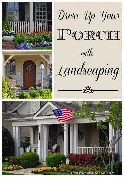 Looking for landscaping pictures for around your porch? Please stop by and visit.  Front-Porch-Ideas-and-More.com #frontporchideas #landscaping #porchlandscapingideas