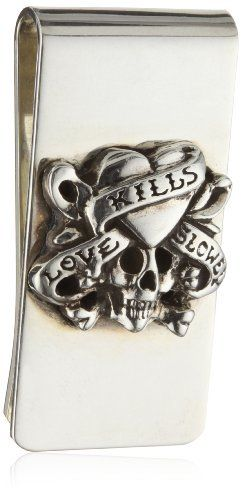 """Ed Hardy """"Love Kills Slowly"""" Silver Money Clip, 2 """" Ed Hardy. $76.99. One size. Made in China. Inspired by Don Ed Hardy Tattoo Collection. Keep product in provided packaging. Save 53%!"""