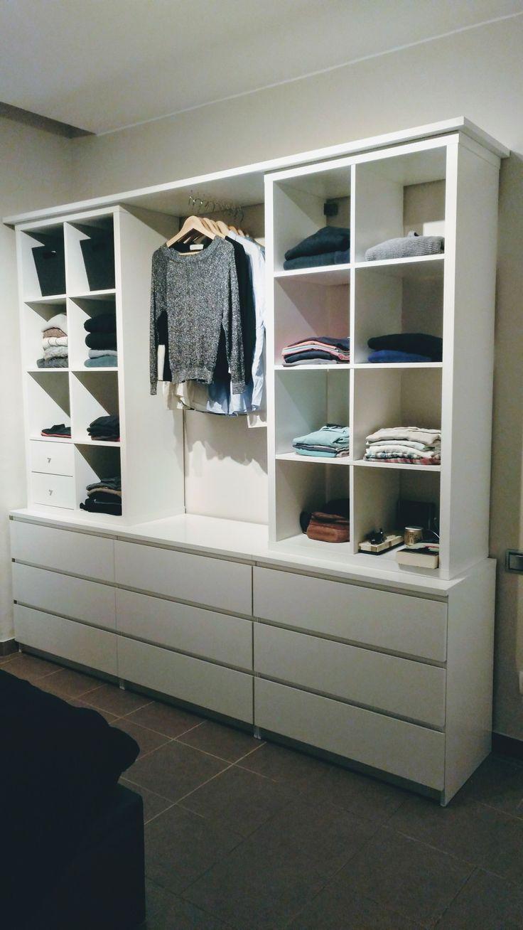 Open cupboard with Kallax and Malm. cupboard Kallax