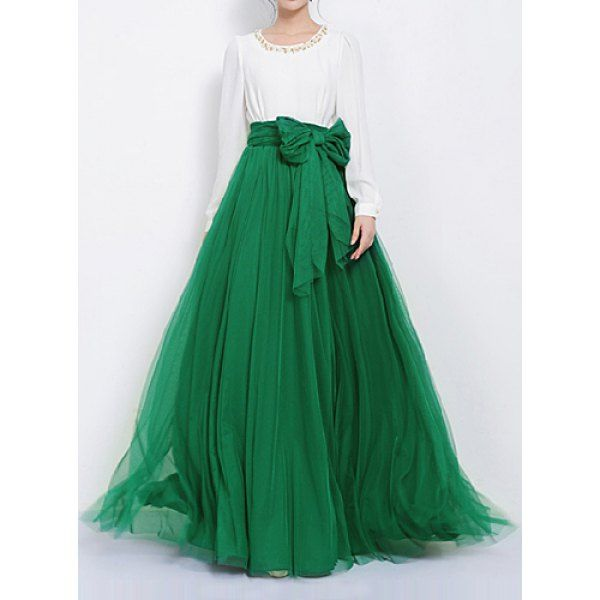 Stylish Solid Color High-Waisted Women's Voile Skirt