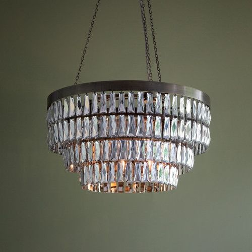 Dia shallow mirrored crystal chandelier with bronze