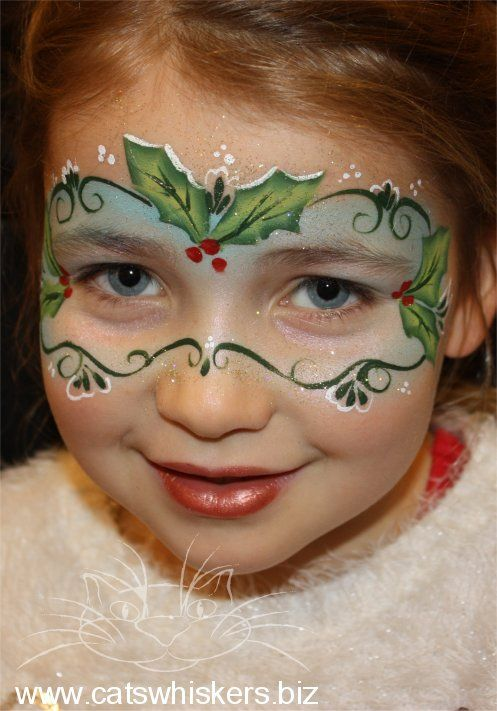 Christmas Holly Mask Face Painting Design by Cats Whiskers Face Painting www.catswhiskers.biz