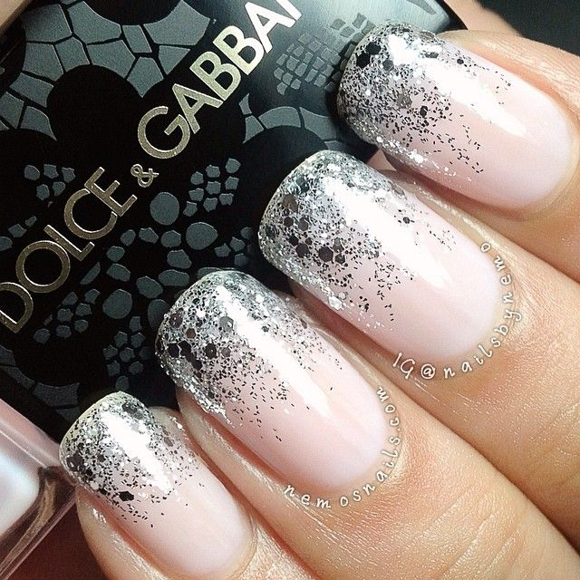 nailsbynemo - This is Dolce and Gabbana 'Pink' with @aengland_official 'Merlin' and larger hex glitter by @essiepolish 'set in stones'.