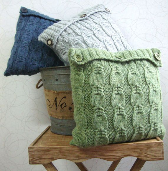 Hand Knitted Pillow by DubrasenHome on Etsy. Three colors blue navy, light gray and green