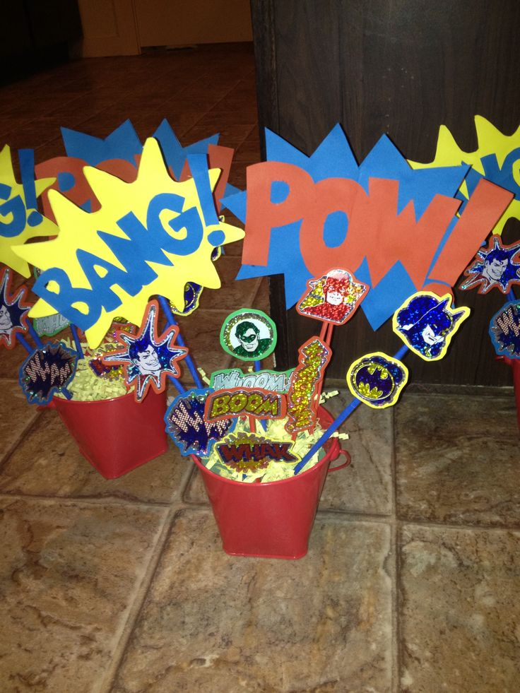 Super Hero Baby Shower Centerpieces