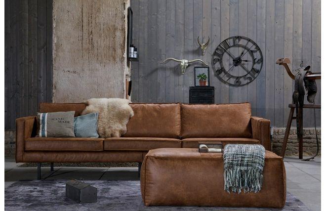Canapé vintage cuir marron clair 3 places ASPEN prix promo Canapé Miliboo 1 352,00 €