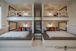 Bunk Room. Custom bunk room beds in bunk room. Fun and Functional Bunk Room. Bunk room with custom beds and shiplap walls. #BunkRoom #CustomBunkbeds