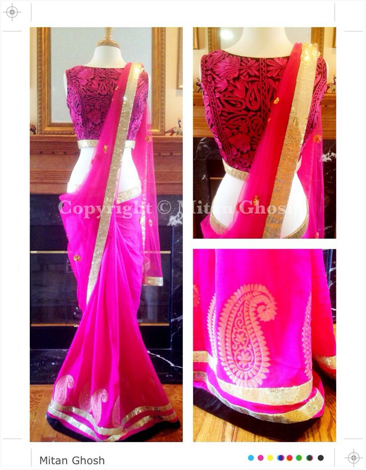 Georgette and net saree with Kashmiri embroidered blouse.