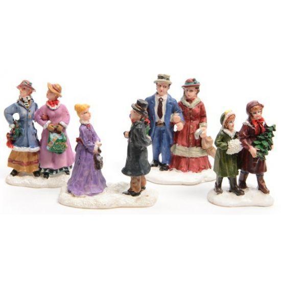 Kerstdorp figuurtjes mensen 4 stuks  Kerstdorp figuurtjes mensen 4 stuks. Deze figuurtjes zijn ideaal voor bijvoorbeeld in een kerstdorp. Grootte: ongeveer 65 cm. Materiaal: polyresin.  EUR 15.95  Meer informatie