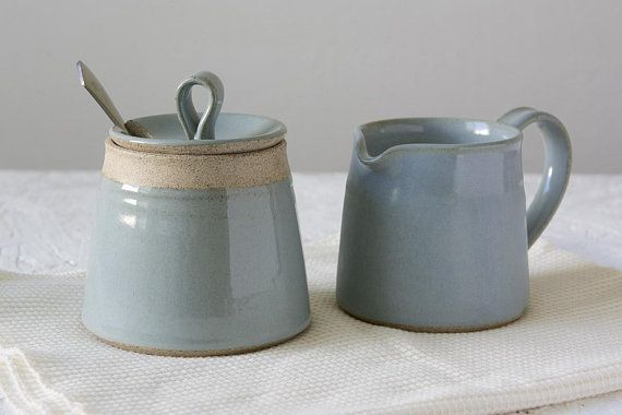 Farmhouse Style Stoneware Cream and Sugar Serving Set Country Cottage