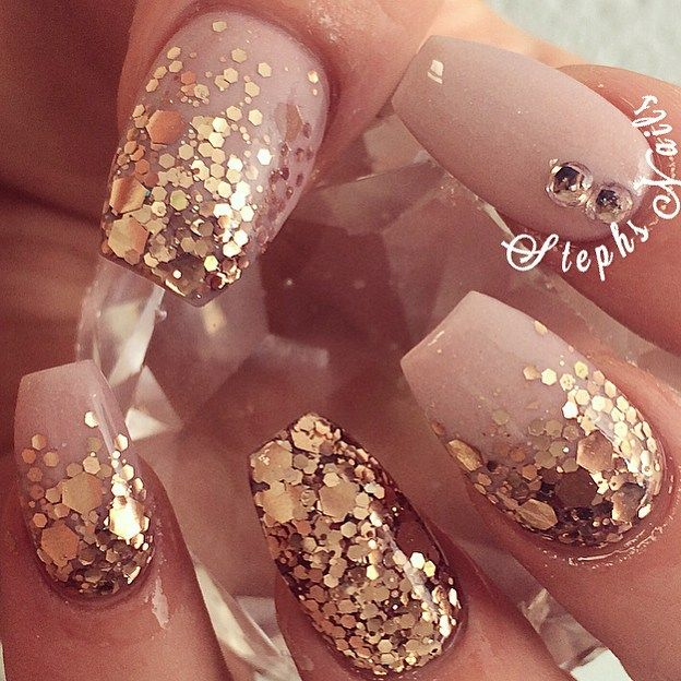 Instagram Post by Stephanie Loesch (@_stephsnails_). Nude NailsNail  ManicureCoffin NailsGold Nail ArtRose Gold Glitter ... - Best 25+ Gold Glitter Nails Ideas Only On Pinterest Pretty Nails