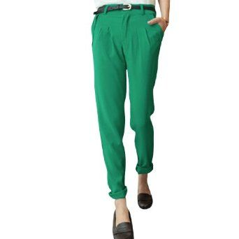 Allegra K Ladies Pleated Baggy Straight Cut Front Pockets Suit Pants Green XS Allegra K. $12.09