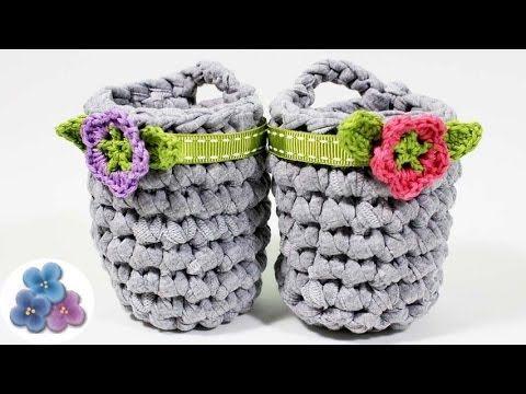 DIY Crochet Cestas de Trapillo FACIL Ganchillo Paso a Paso Crochet XXL y Totora Pintura Facil