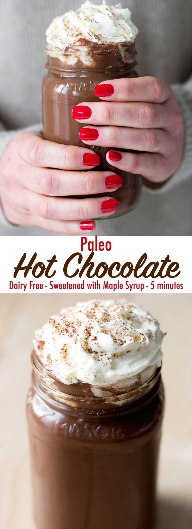 Cozy up with this delicious and decadent paleo hot chocolate. It is dairy free, refined sugar free, and only takes 5 minutes to make!