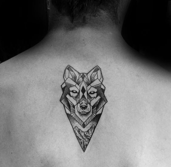 Geometric Wolf Upper Back Tattoo