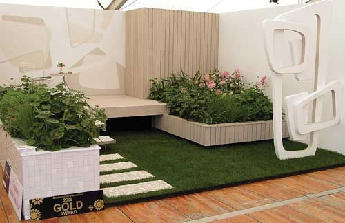 Ellerslie International Flower Show former gold award winning garden.  Nice idea for a small contained garden with seating.