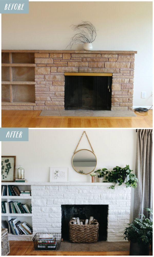 Lessons From A White Painted Fireplace Makeover White Painted Fireplace Painted Stone Fireplace Stone Fireplace Makeover