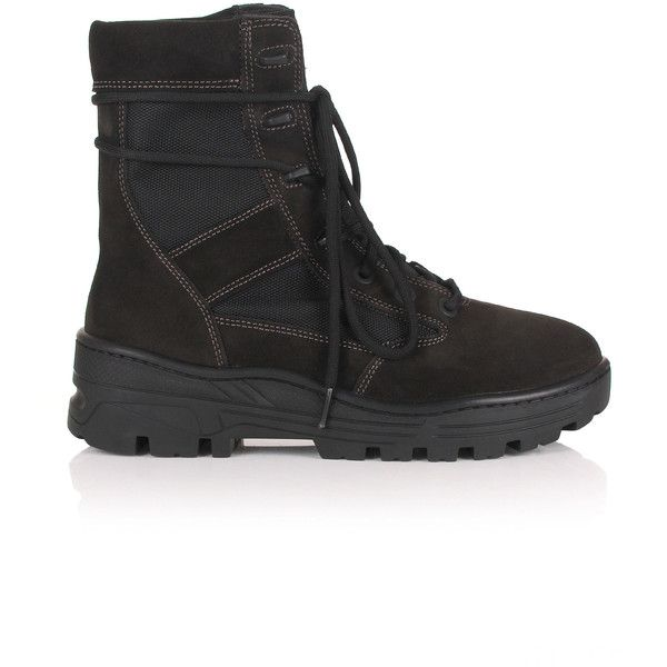 Yeezy Season 4 Combat Boots (845 CAD) ❤ liked on Polyvore featuring men's fashion, men's shoes, men's boots, mens military boots, mens lace up boots, mens lace up shoes, mens combat boots and mens boots