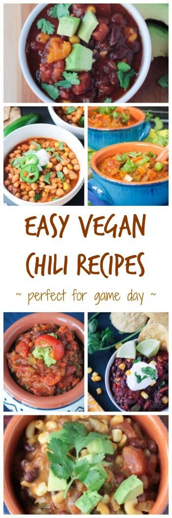 Easy Vegan Chili Recipes - perfect for Game Day or to get you through these cold winter months. All are hearty, healthy, and gluten free. Which one will be your favorite? #vegan #chili #hearty #gameday #potluck #superbowl #glutenfree #soup #dairyfree #meatless #vegetarian #healthy