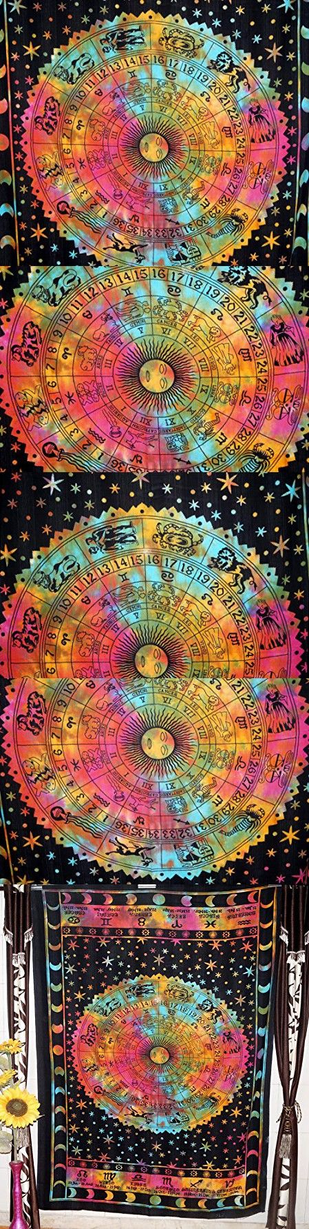 Multi Tie Dye Tapestry Wall Hanging Indian Astrology Hippie Wall Tapestries Dorm Tapestry Zodiac Tapestry Boho Tapestry