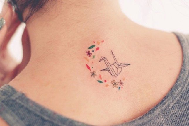 Origami Crane with Flowers - The 14 Prettiest Geometric Tattoos You Ever Did See via Brit + Co.