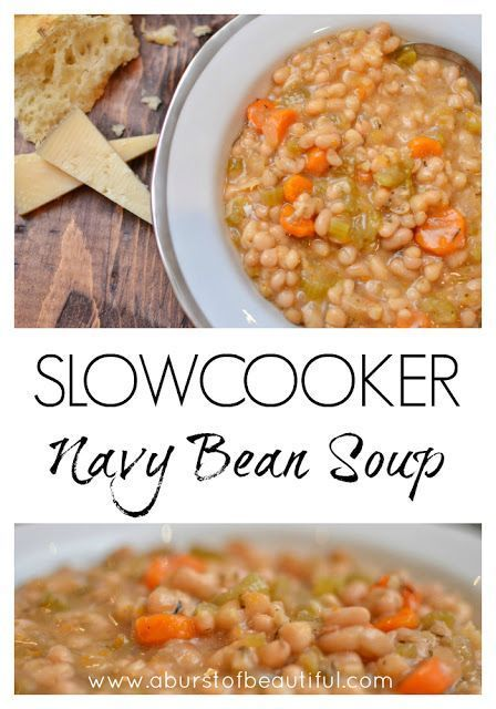Simple and healthy, our delicious Slow Cooker Navy Bean Soup is perfect for a quick weeknight dinner | A Burst of Beautiful