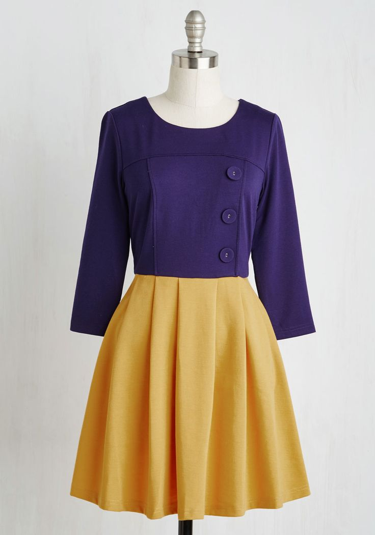 Either Or Dress in Navy and Goldenrod