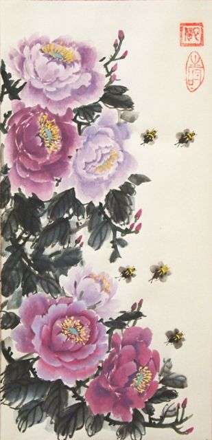 Рисунок - Китайская живопись - Се-И - Пионы и пчёлы. Нажмите на изображение, для того, чтобы посмотреть изображение в максимальном размере