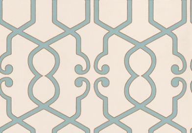 Augustus Mineral (W0010/03) - Clarke & Clarke Wallpapers - A stunning geometric design with modern colouring. Showing in duck egg blue with a fine metallic gold outline on off white. Other colour ways available. Please request a sample for true colour match. Paste-the-wall product.