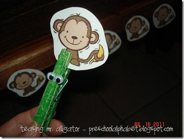 """5 Little Monkeys Week-  Make alligator by coloring clothespin green and adding wiggly eyes.  color monkeys the sing rhyme:  Five little monkey swinging in a tree  Teasing Mr. Alligator, """"Can't catch me!""""  Along comes Mr. Alligator, as quiet as can be  And SNAPS that monkey right out of that tree."""