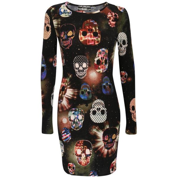 KRISTIN SKULL PRINT BODYCON DRESS IN MULTI COLOUR (£18) ❤ liked on Polyvore featuring dresses, longsleeve dress, print bodycon dress, scoop neck dress, long sleeve body con dress and patterned bodycon dress