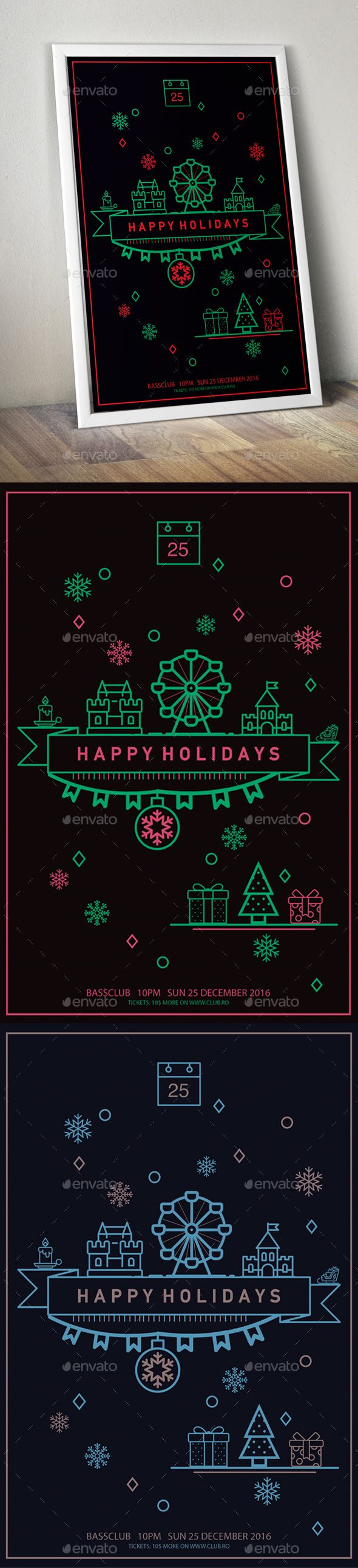 #Happy #Holidays #Poster - #Events #Flyers Download here: https://graphicriver.net/item/happy-holidays-poster/19059346?ref=alena994