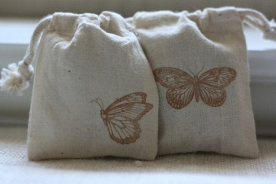 musselina saco de presente duas borboletas x 10, casamento musselina saco do presente, favor do chuveiro de bebê, saco do presente para sabonetes, velas, doces, assados