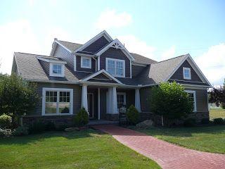 Exterior home ideas pinterest exterior colors green for Dark green siding