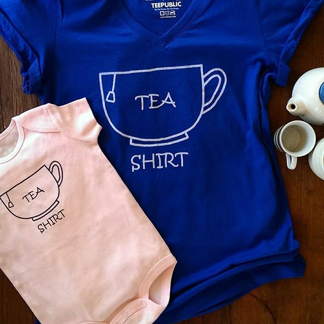 How adorable are these matching Tea Shirts!?  Most #pelicanandwolf designs are available in unisex children's sizes from infant snap onsies right through to early teens. #pun #tshirt #cute #matchingoutfits