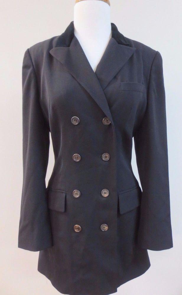 NICOLE FARHI Long Brown Wool and Velvet Jacket Blazer Sz 6 EUC #NicoleFarhi #Blazer