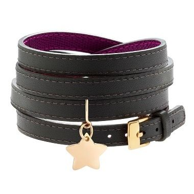 Leather bracelet grey/purple and gold-plated star 48£ #leather #bracelet #star #goldplated #present #ideas #christmas