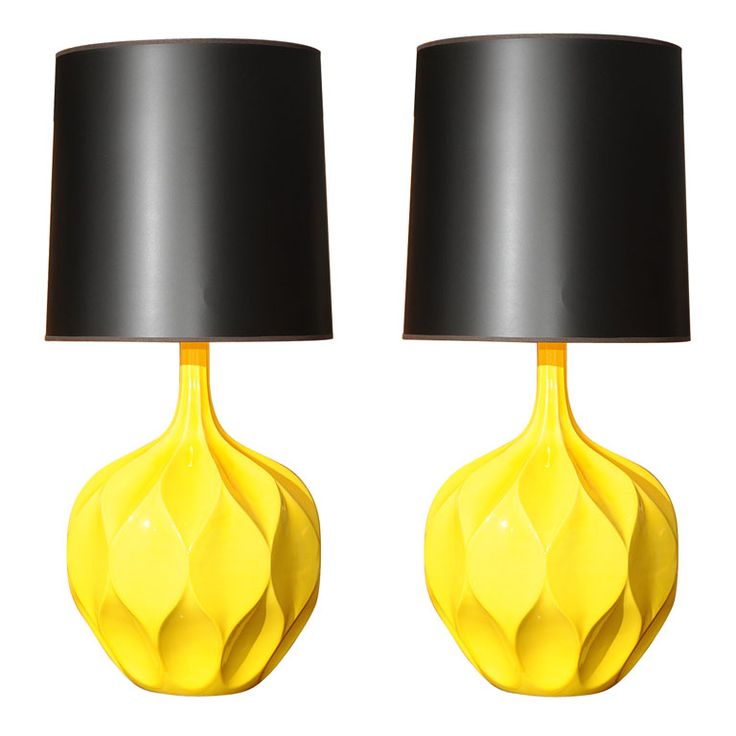 Gorgeous Yellow Lamps by Monument    http://goodbonesgreatpieces.com/2011/02/table-lamps-pop/