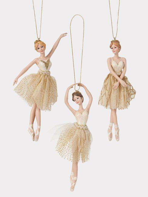 Porcelain gold ballerina ornament set of 3 ballerina for Ballerina tree decoration