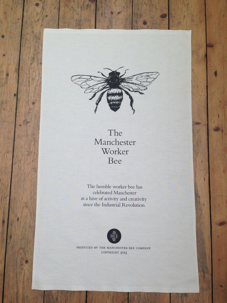 Manchester Worker Bee 100 Cotton Tea Towel by TheManchesterBee