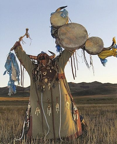 Mongolian Shamanism | In Buryat shamanistic symbolism, the World-Tree is connected to the World-River; the bear for the Master of the Animals, or, among the Evenks, for the ethnogenic father. in the northwest corner of Mongolia, near the lake of Khoso Gol,  the shamans  venerate the mountain god, Khan Boghda Dayan Degereki Khayirkhan, in the form of the holy mountain. The polar star is a celestial nail, also called the Golden Nail -