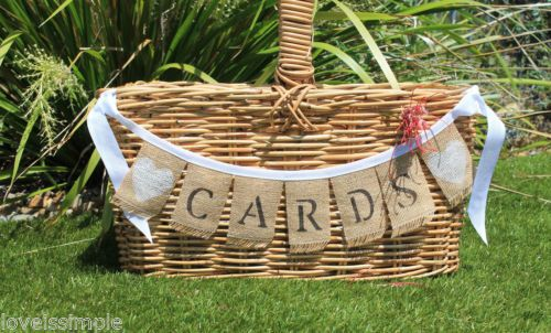 shabby vintage rustic style CARDS hessian wedding bunting banner cute unique