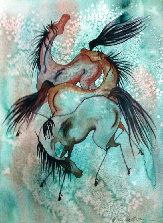 Original watercolor paintings of horses by E. C. Sullivan. Prints available.