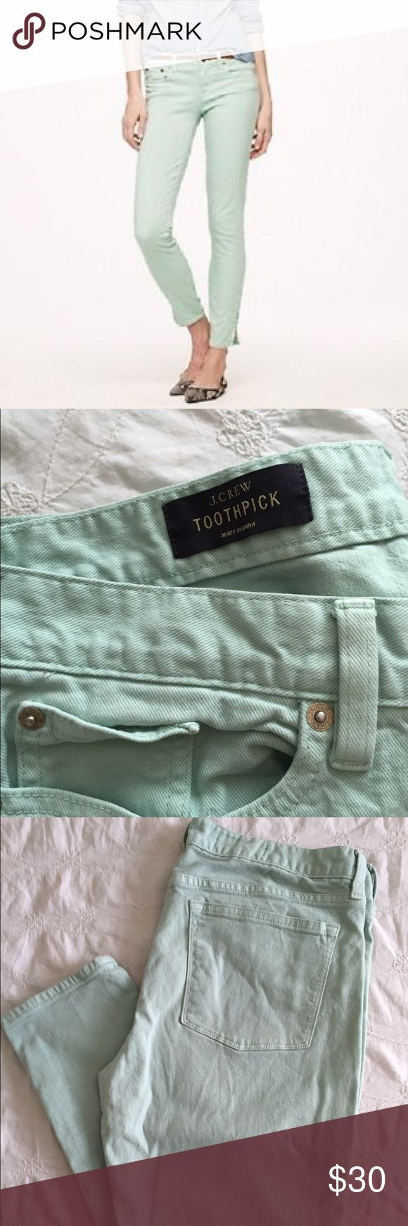 J. Crew Toothpick Mint Jeans I wore them several times but they're in great condition. This style is a few years old, so the tag says they're a 32 but they fit more like a 29. J. Crew Jeans Skinny