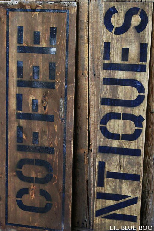 Aging Wood with Vinegar and Steel Wool: I used solution from the bottom of the jar where the rust sludge had settled.  It produces a darker-reddish finish vs. the sign on the right with the lighter tone.