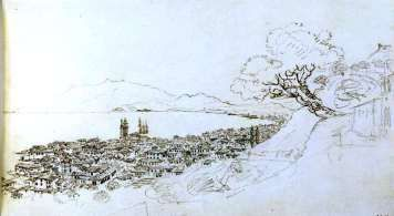 ZANTE . the town from above, drawn by Sir William Gell (1777-1836), sheet 14 from sketch-book 10 1811 (the British Museum)