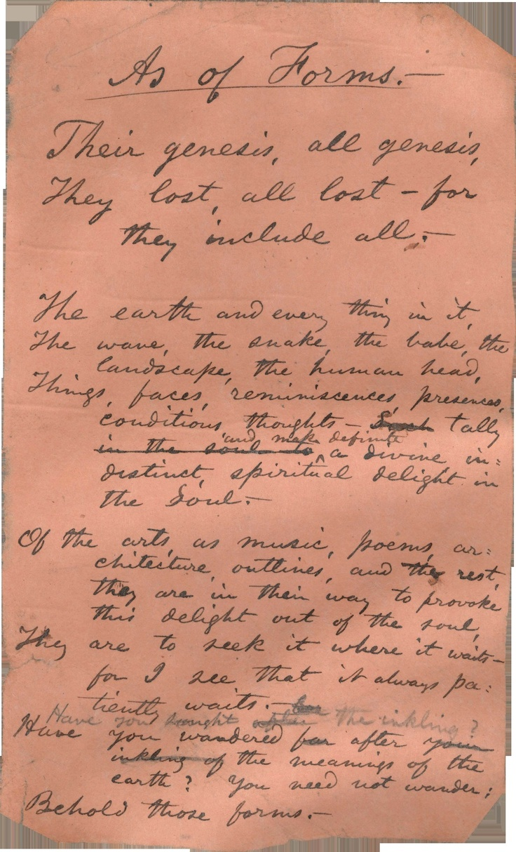 17 best images about walt whitman electric fires walt whitman s handwritten poem as of forms never published in his lifetime