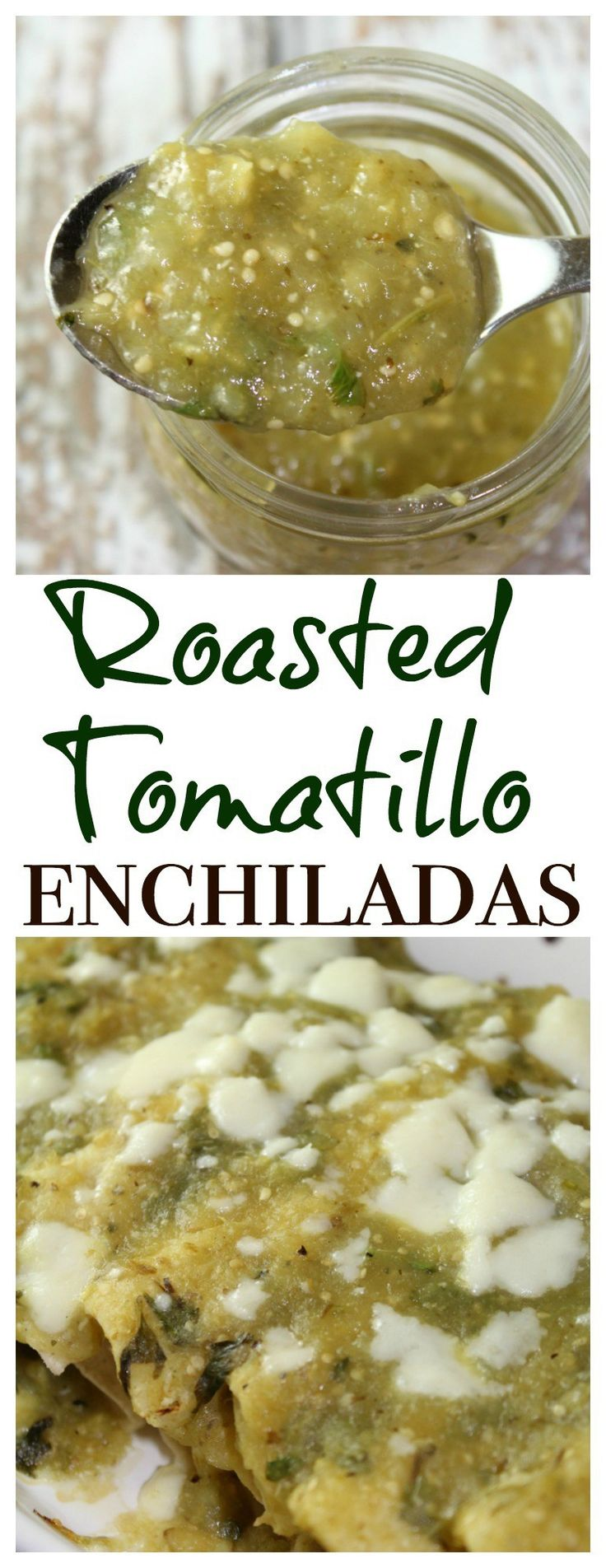 These roasted tomatillo enchiladas combine chicken enchiladas with fresh tomatillos, serrano chiles, garlic and onion blended to create a rich, green sauce that'll be your new weeknight go-to meal.